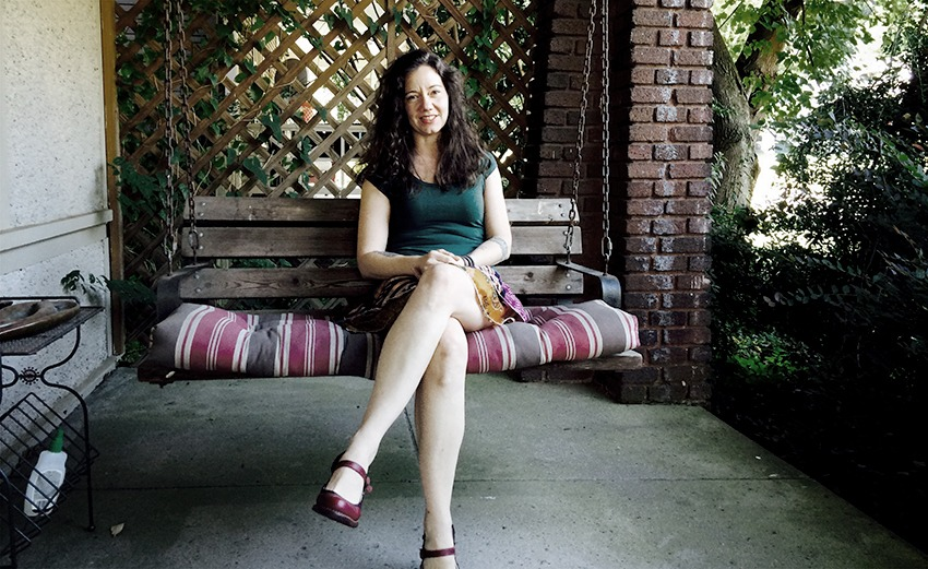 heather on porch